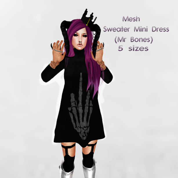 {PopTart} Sweater Mini Dress (Bones) PIX